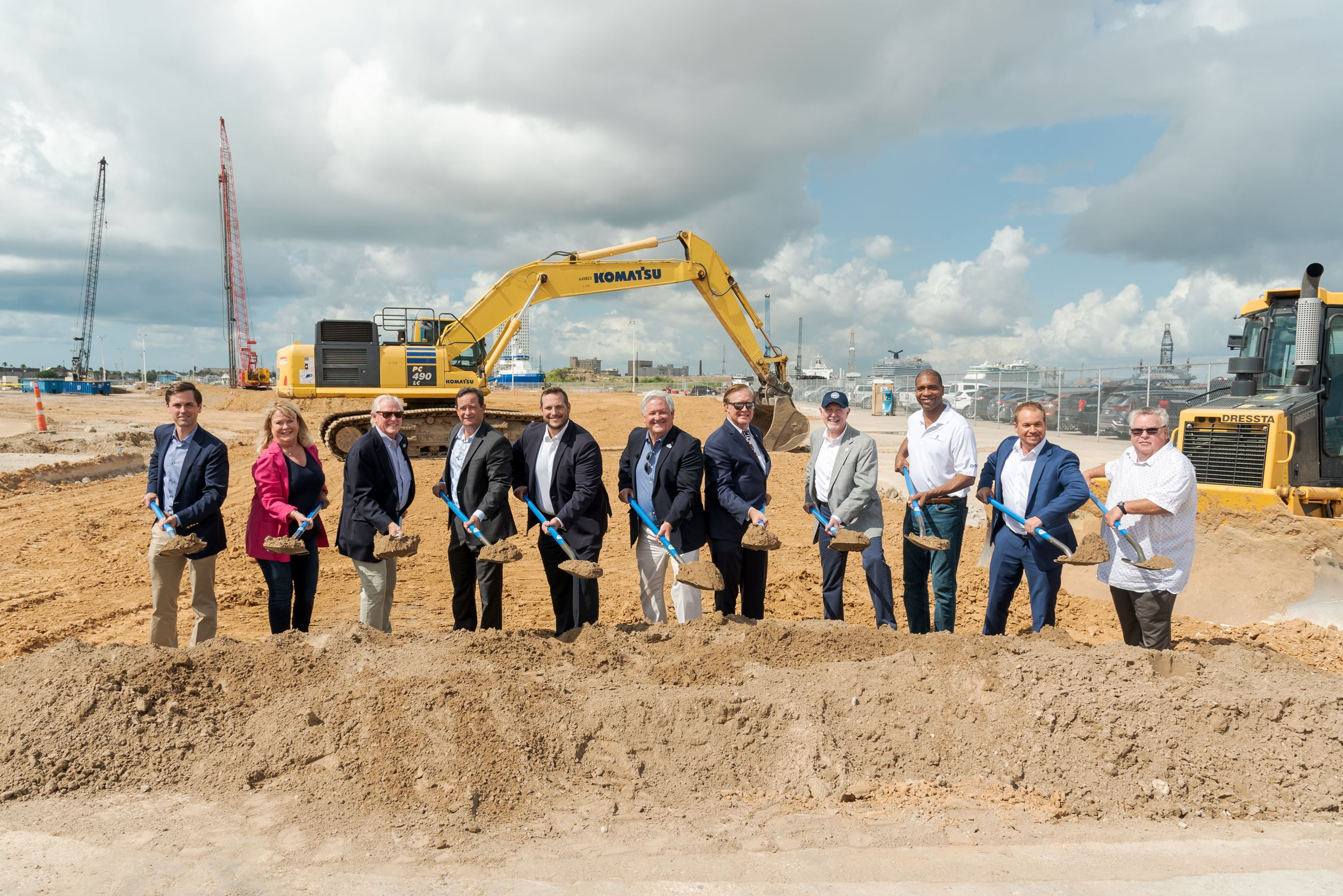 Federal, state, and local officials join Galveston Wharves Port Director and CEO Rodger Rees, Galveston Wharves Chairman Albert Shannon,Royal Caribbean International V.P. of Destination Development Joshua Carroll,and other industry leaders in turning the first sod during a groundbreaking ceremony held at the Port of Galveston's Pier 10 on Aug. 14 to mark the start of construction on a $125 million new state-of-the-art cruise terminal  (August 2021)